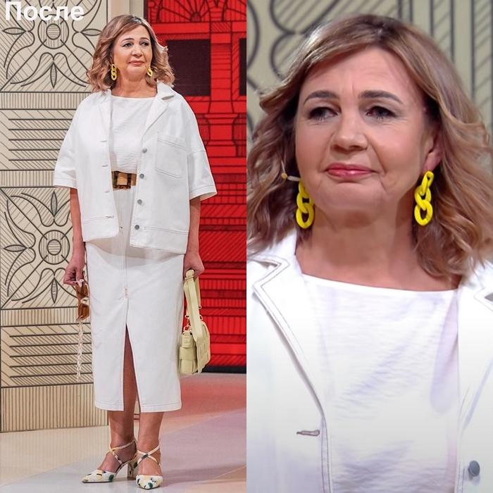 Модный приговор, пенсионерка Ирина 58 лет - Белый костюм: топ + юбка миди + жакет на пуговицах