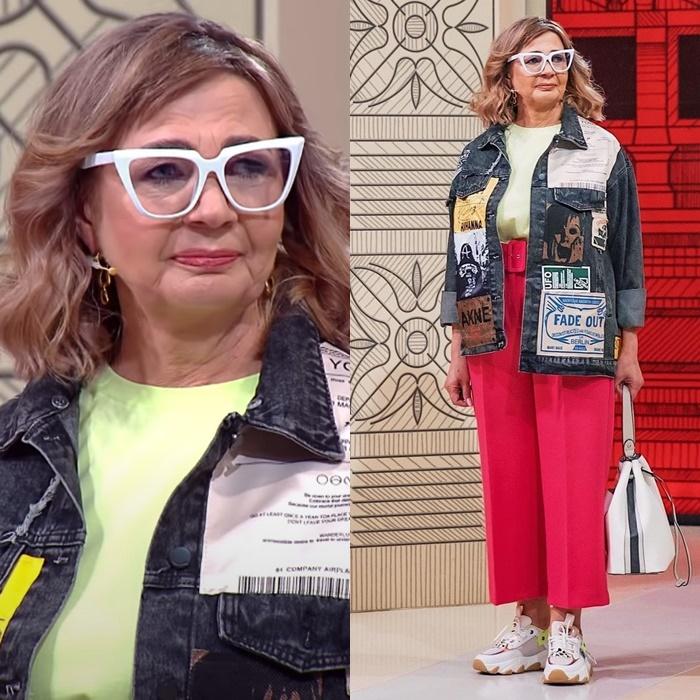 Модный приговор, пенсионерка Ирина 58 лет - Джинсовая куртка + топ + брюки со стрелкой + кроссовки