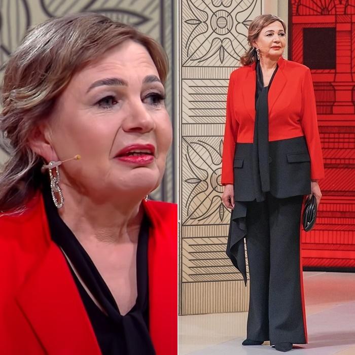 Модный приговор, пенсионерка Ирина 58 лет - Красно-чёрный брючный костюм