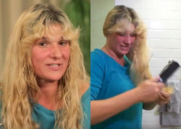 Преображение домохозяйки Кэти - Волосы героини - длинные, вьющиеся, пушистые