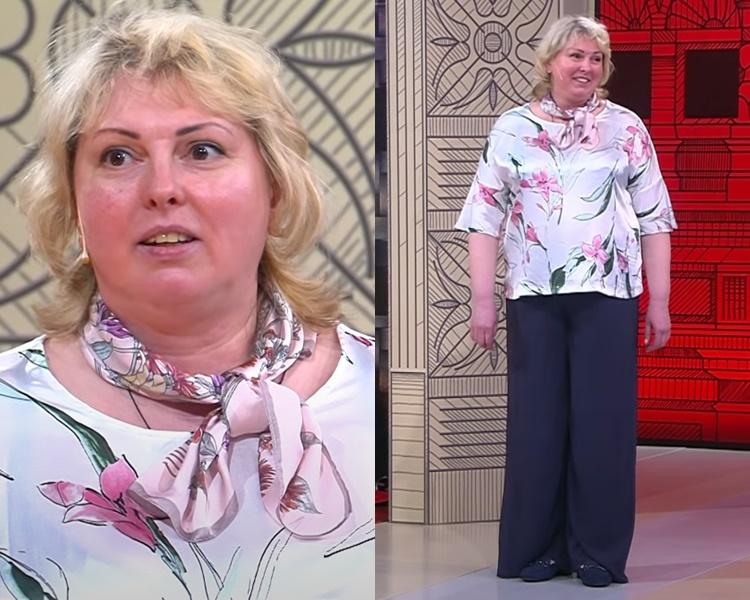 Элегантный стиль для полной блондинки - Атласная блузка с брюками палаццо