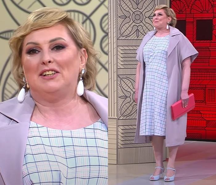 Элегантный стиль для полной блондинки - Платье в клетку с летним пальто