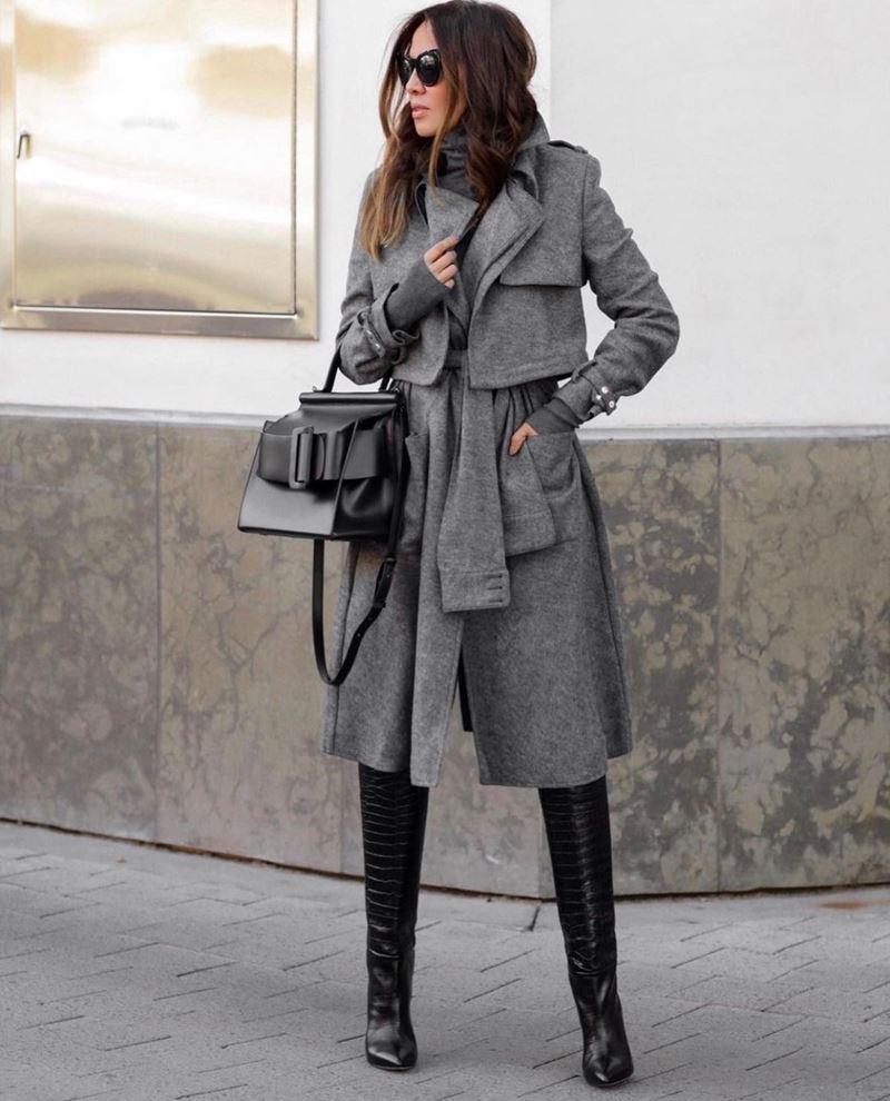 Модные образы в оттенках серого - Пальто с кокеткой + водолазка + крокодиловые сапоги