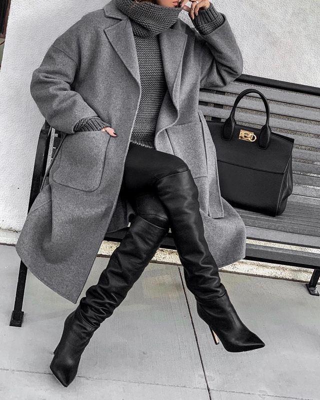 Модные образы в оттенках серого - Свитер + кашемировое пальто + кожаные брюки + ботфорты