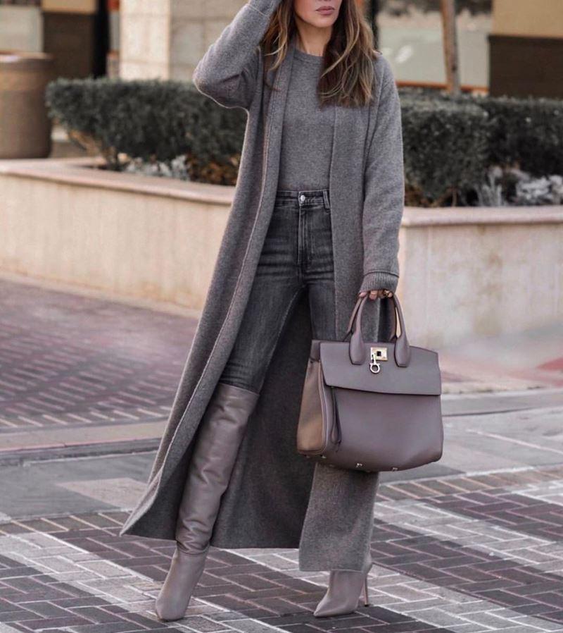 Модные образы в оттенках серого - Шерстяное пальто + джемпер + джинсы + сапоги
