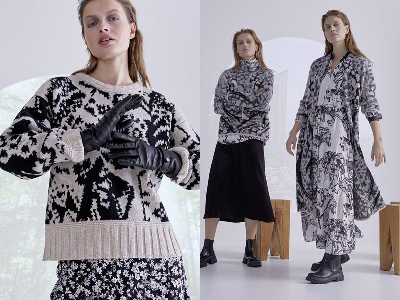 Модный трикотаж: Marc Cain осень-зима 2021-2022 - Трикотажный чёрно-серо-белый образ