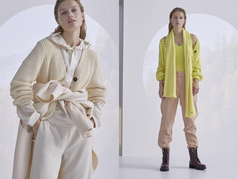 Модный трикотаж: Marc Cain осень-зима 2021-2022 - Расслабленные кардиганы на пуговицах с брюками