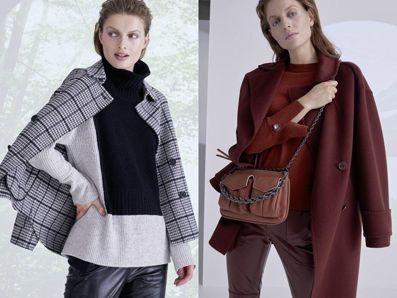 Модный трикотаж: Marc Cain осень-зима 2021-2022 - Гладкий свитер с кожаными брюками и пальто