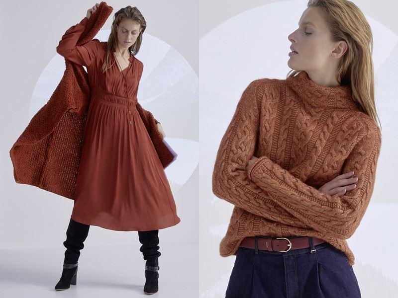 Модный трикотаж: Marc Cain осень-зима 2021-2022 - Трикотажный кардиган и свитер терракотового оттенка