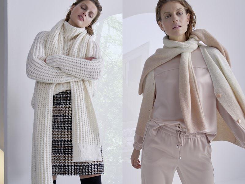 Модный трикотаж: Marc Cain осень-зима 2021-2022 - Светлый свитер или кардиган с повязанным шарфом