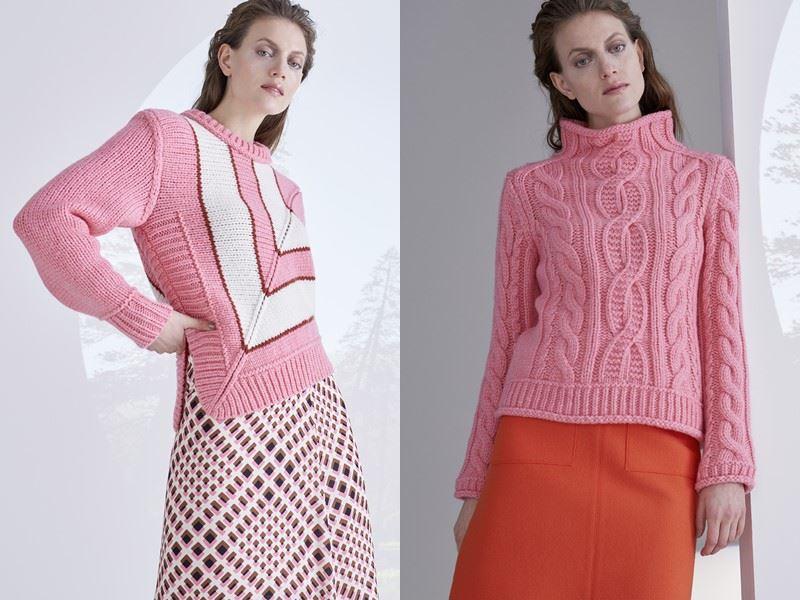 Модный трикотаж Marc Cain осень-зима 2021-2022 - Розовый свитер с юбкой