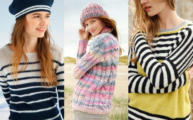 Трикотажные свитеры в полоску