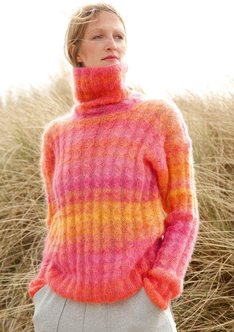 Трикотаж в полоску - Яркий свитер с эффектом деграде