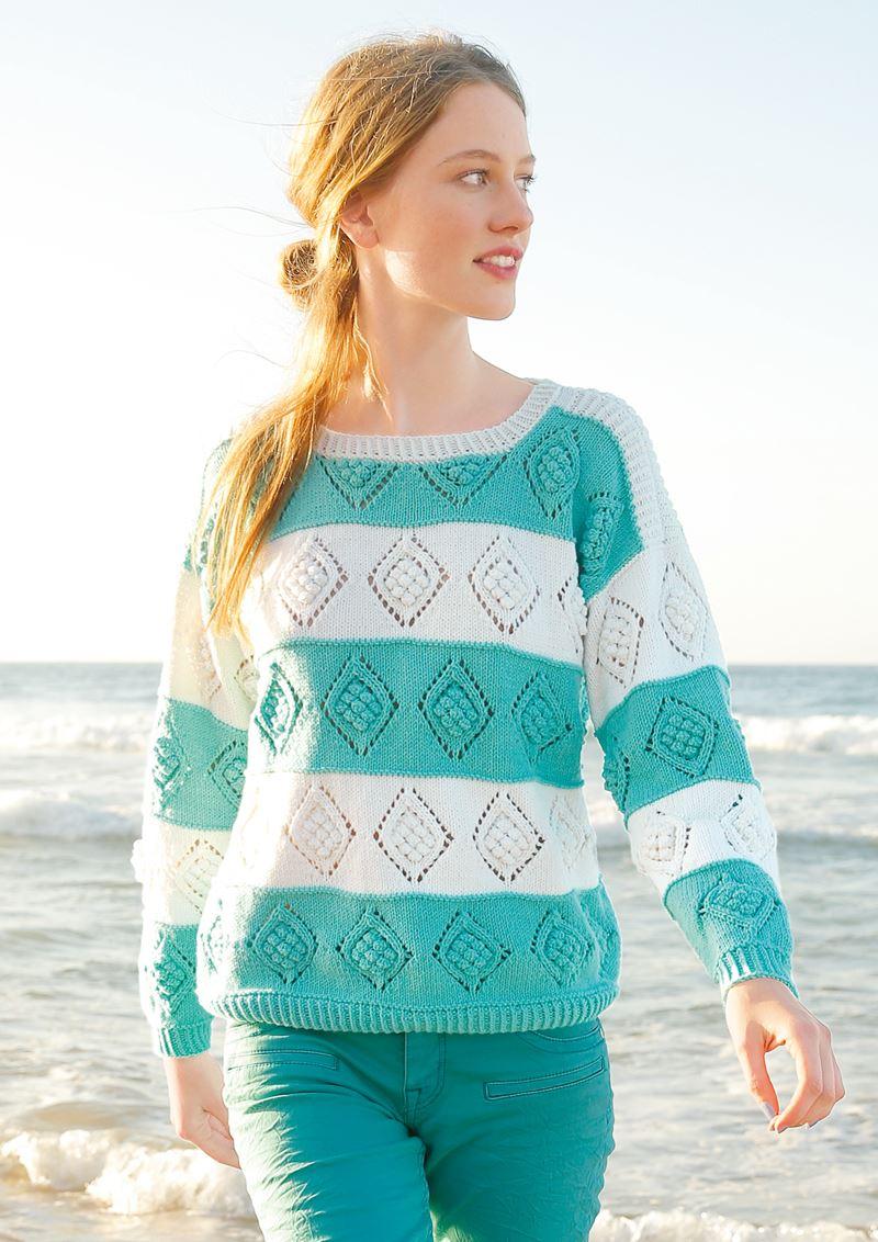 Трикотаж в полоску - Тонкий ажурный свитер с ромбами и «шишечками»
