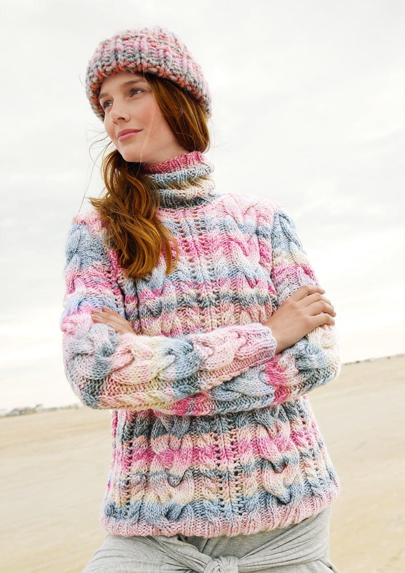Трикотаж в полоску - Ирландский свитер с косичками в «зефирной» гамме