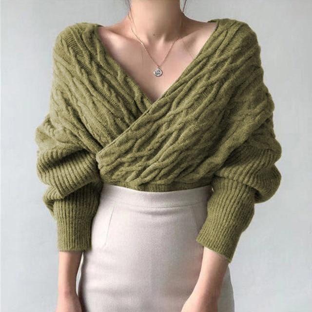 Женственный трикотаж с Aliexpress - Оливковый свитер-блузка на запах