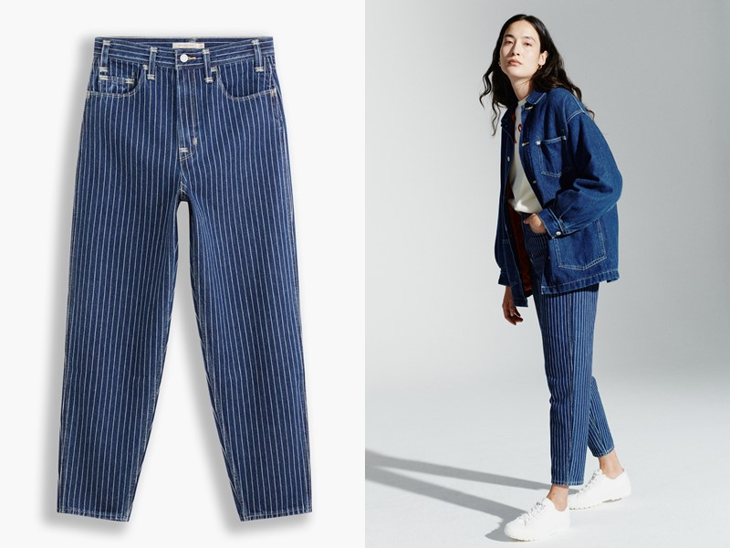 Джинсовые вещи из денима Levi's® Red™ осень-зима 2021-2022 - Укороченные джинсы в полоску