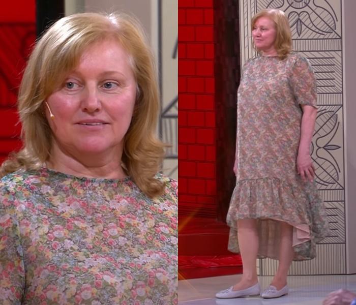 «Модный приговор» для женщины 60 лет - платье с цветочным принтом и воланом