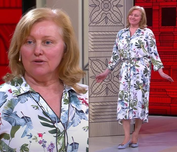 «Модный приговор» для женщины 60 лет - Платье-рубашка с сине-зелёным принтом