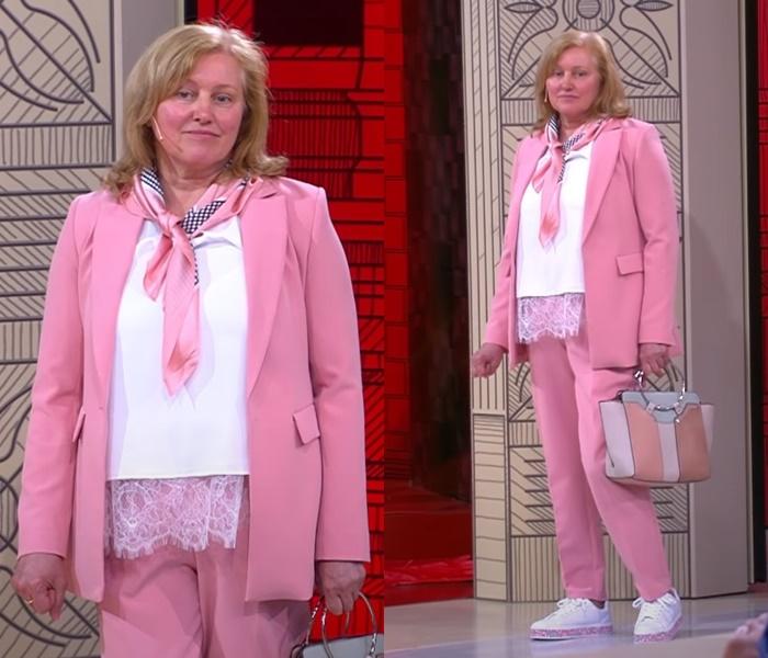 «Модный приговор» для женщины 60 лет - Розовый брючный костюм