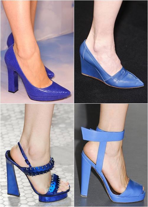 Обувь весна-лето 2013: синие туфли на каблуке