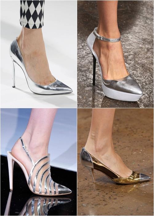 обувь весна-лето 2013: серебристый металлик туфли