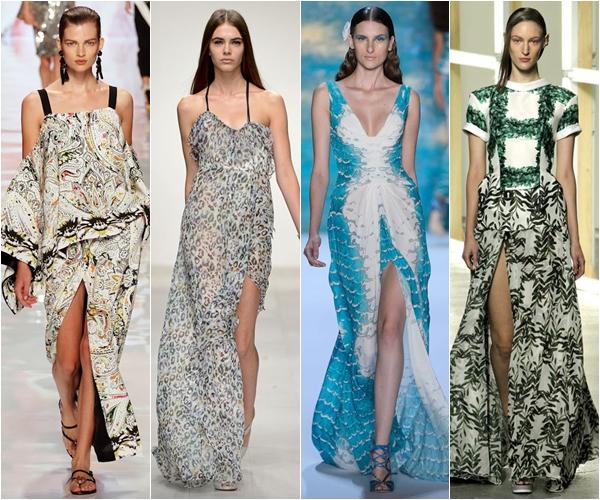 Весна-лето 2013 модные тенденции длинные платья и юбки с разрезами