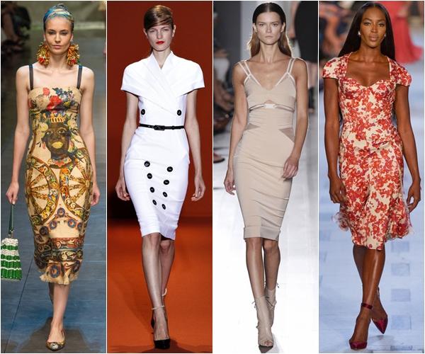 Весна-лето 2013 модные тенденции платья wiggle в стиле 50-х