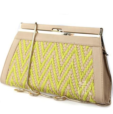 сумка kardashian kollection 2013 желтый клатч zig zag
