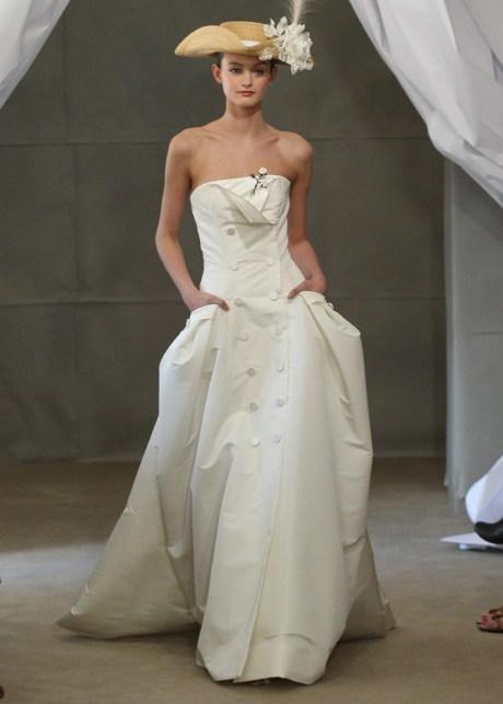 платье бюстье свадебное carolina herrera весна 2013