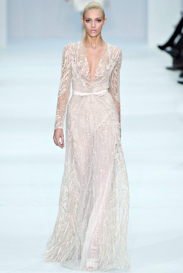 свадебное платье с длинным рукавом от elie saab  2013