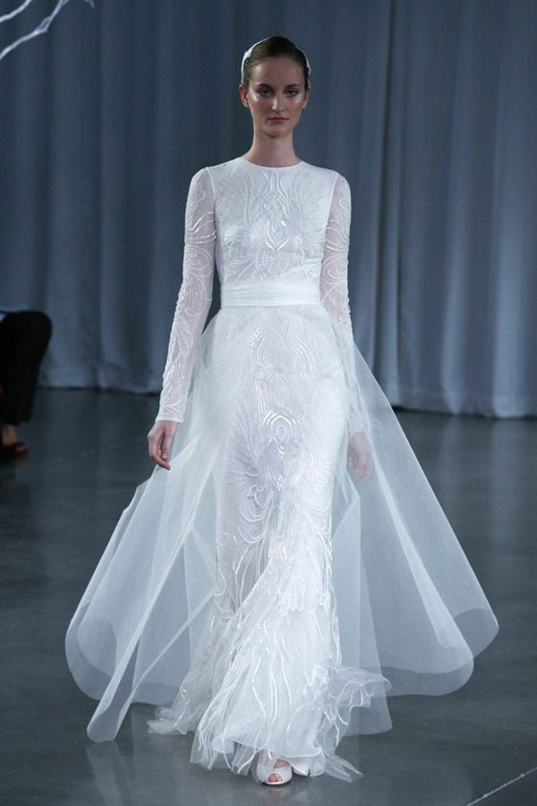 свадебное платья с длинным рукавом 2013 от Monique Lhullier