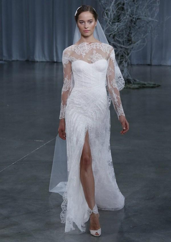 кружевное вадебное платье с разрезом Monique Lhullier 2013