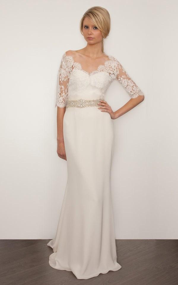 платье с кружевными рукавами sarah janks 2013