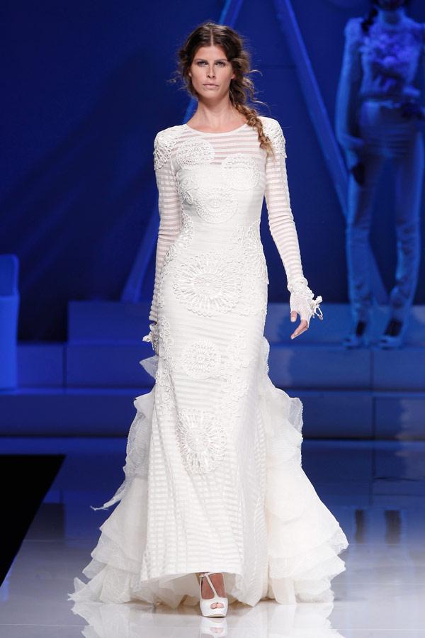 свадебное платье с длинным рукавом yolan cris 2013