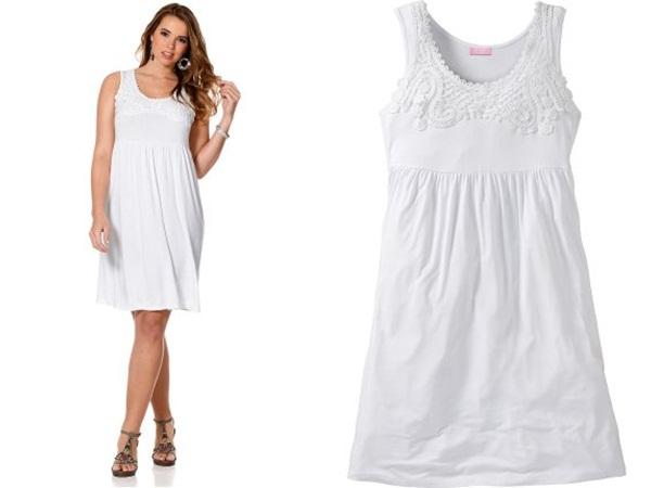 короткое летнее белое платье для полных в каталоге quelle