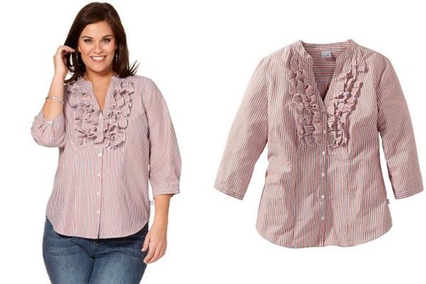купить в интернет-магазине блузку для полных в полоску розового цвета