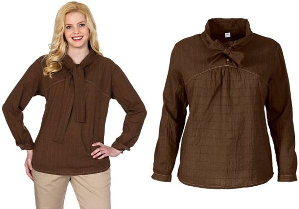 элегантная коричневая шоколадная блузка для полных в интернет-магазине