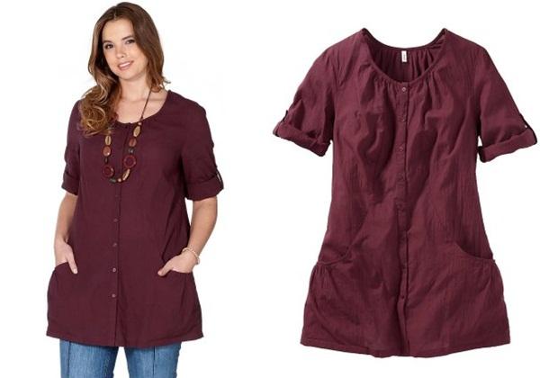 длинная блузка для полных с короткими рукавами в стиле сафари купить