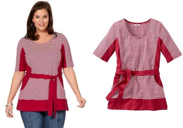 полосатая блузка для полных красного цвета стройнит