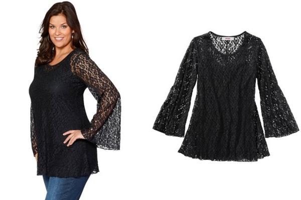 купить черную кружевную блузку для полных 2013