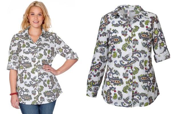 блузка для полных с принтом купить в интернет-магазине