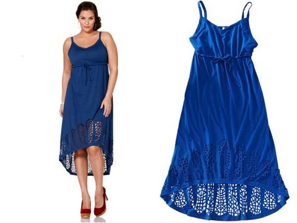 синее длинное платье для полных хай лоу