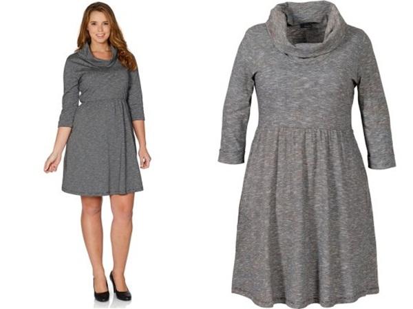 трикотажное короткое платье для полных