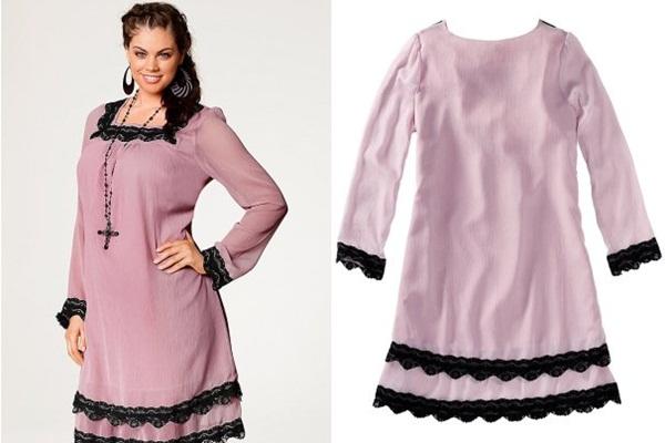 короткое широкое платье для полных розового цвета