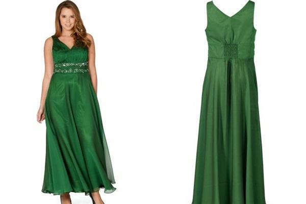 зеленое блестящее платье на выход для полных
