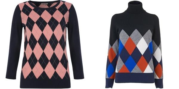 свитера в ромбики от jigsaw и jaeger