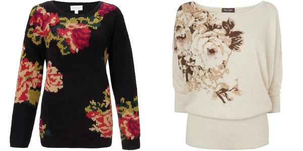 цветочный рисунок на свитерах monsoon и phase eight