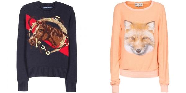 свитера с животными ralph lauren и wildfox