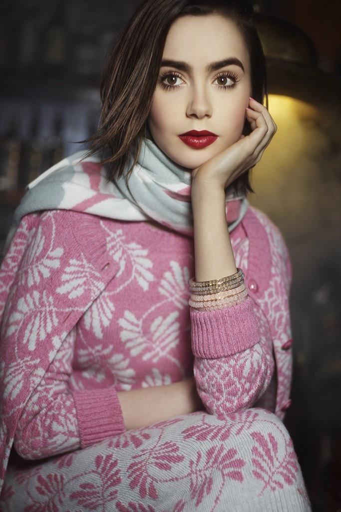 лили коллинз в рекламной кампании barry knitwear осень 2014